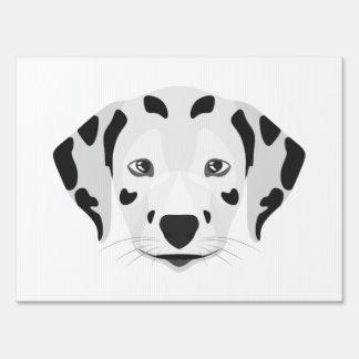 Illustration dogs face Dalmatian Lawn Sign