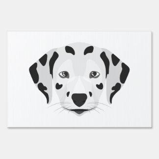 Illustration dogs face Dalmatian Yard Sign