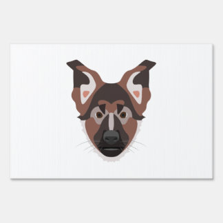 Illustration dogs face German Shepherd Lawn Sign