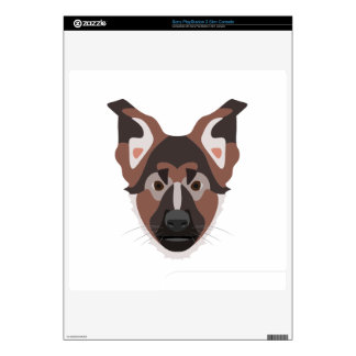 Illustration dogs face German Shepherd PS3 Slim Decal