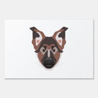 Illustration dogs face German Shepherd Sign