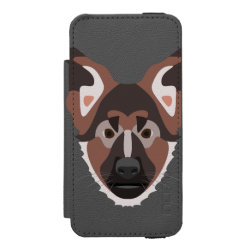 Illustration dogs face German Shepherd Wallet Case For iPhone SE/5/5s