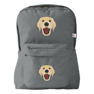 Illustration dogs face Golden Retriver Backpack