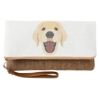 Illustration dogs face Golden Retriver Clutch