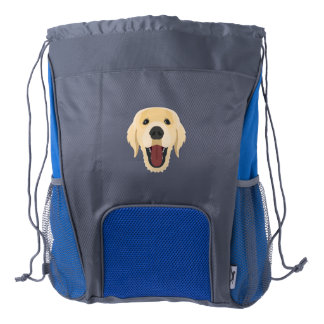 Illustration dogs face Golden Retriver Drawstring Backpack