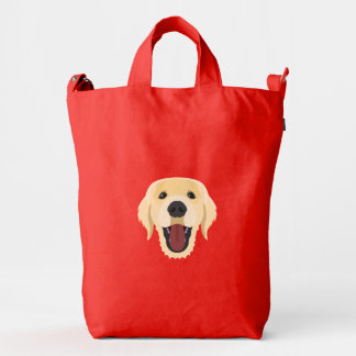 Illustration dogs face Golden Retriver Duck Bag