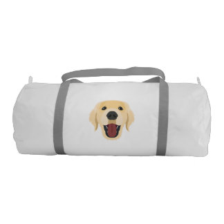 Illustration dogs face Golden Retriver Duffle Bag