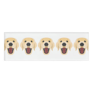 Illustration dogs face Golden Retriver Name Tag