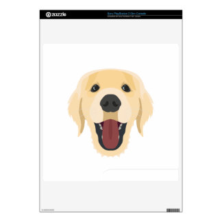 Illustration dogs face Golden Retriver PS3 Slim Console Decal