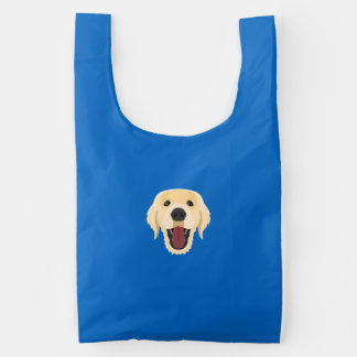 Illustration dogs face Golden Retriver Reusable Bag