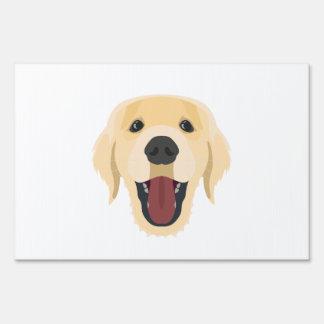 Illustration dogs face Golden Retriver Sign