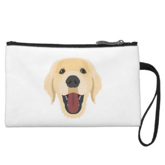 Illustration dogs face Golden Retriver Wristlet Wallet