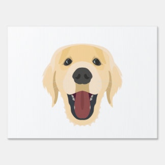 Illustration dogs face Golden Retriver Yard Sign