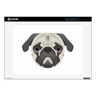 Illustration dogs face Pug Acer Chromebook Decals