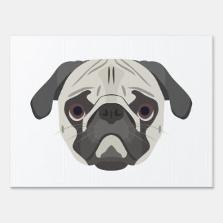 Illustration dogs face Pug Lawn Sign