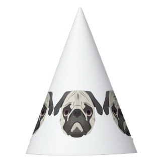 Illustration dogs face Pug Party Hat