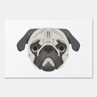 Illustration dogs face Pug Sign
