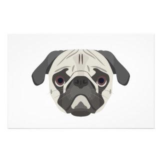 Illustration dogs face Pug Stationery