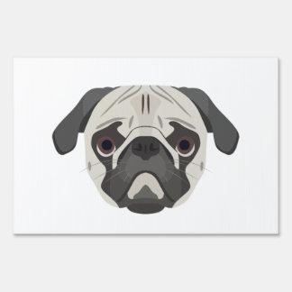 Illustration dogs face Pug Yard Sign