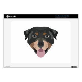 Illustration dogs face Rottweiler Acer Chromebook Decals