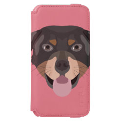 Illustration dogs face Rottweiler iPhone 6/6s Wallet Case