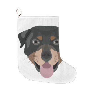 Illustration dogs face Rottweiler Large Christmas Stocking