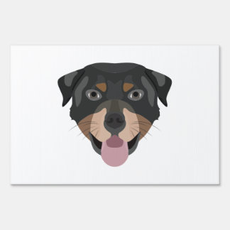 Illustration dogs face Rottweiler Lawn Sign