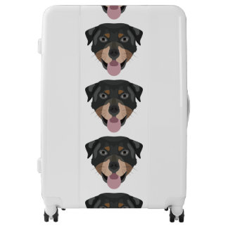 Illustration dogs face Rottweiler Luggage