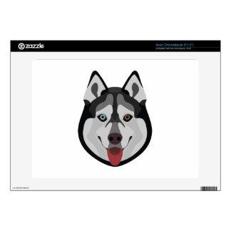 Illustration dogs face Siberian Husky Acer Chromebook Skins