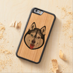 Carved ® iPhone 6 Bumper Wood Case with Siberian Husky Phone Cases design