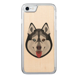 Carved Apple iPhone 7 Wood Case with Siberian Husky Phone Cases design