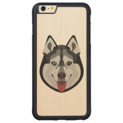 Carved iPhone 6 Plus Slim Wood Case with Siberian Husky Phone Cases design