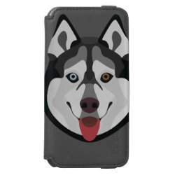 Illustration dogs face Siberian Husky iPhone 6/6s Wallet Case