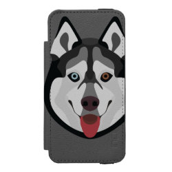 Incipio Watson™ iPhone 5/5s Wallet Case with Siberian Husky Phone Cases design