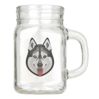 Illustration dogs face Siberian Husky Mason Jar