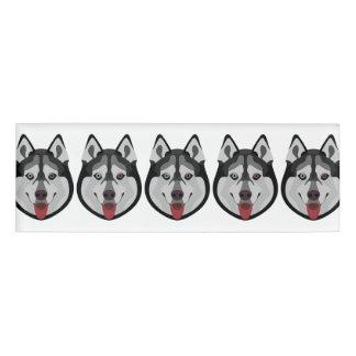 Illustration dogs face Siberian Husky Name Tag