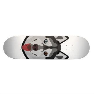 Illustration dogs face Siberian Husky Skateboard Deck
