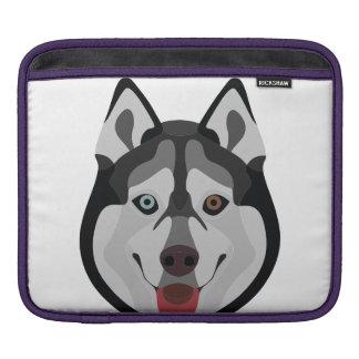 Illustration dogs face Siberian Husky Sleeve For iPads