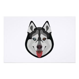 Illustration dogs face Siberian Husky Stationery