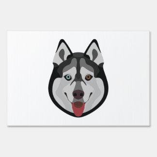 Illustration dogs face Siberian Husky Yard Sign