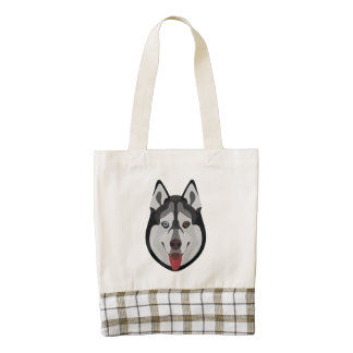 Illustration dogs face Siberian Husky Zazzle HEART Tote Bag