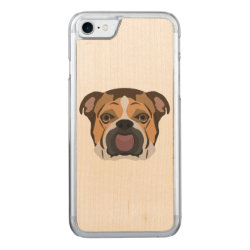 Carved Apple iPhone 7 Wood Case with Bulldog Phone Cases design