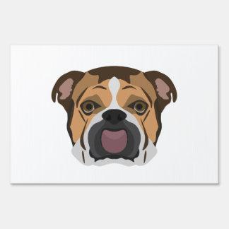 Illustration English Bulldog Lawn Sign