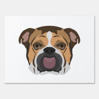 Illustration English Bulldog Yard Sign