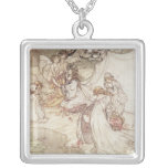 Illustration for a Fairy Tale Square Pendant Necklace