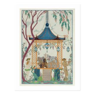 Illustration for 'Fetes Galantes' by Paul Verlaine Postcard