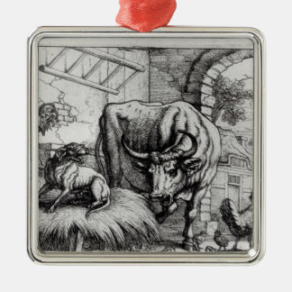 Illustration for 'The Dog and the Ox' Christmas Tree Ornament