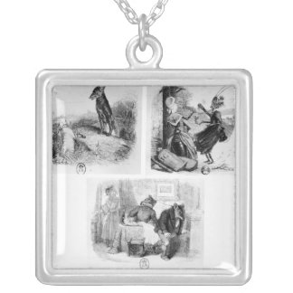 Illustration for 'The Wolf and the Lambb' Silver Plated Necklace