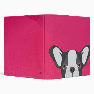 Illustration French Bulldog with pink background 3 Ring Binder