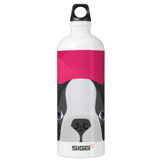 Illustration French Bulldog with pink background Aluminum Water Bottle